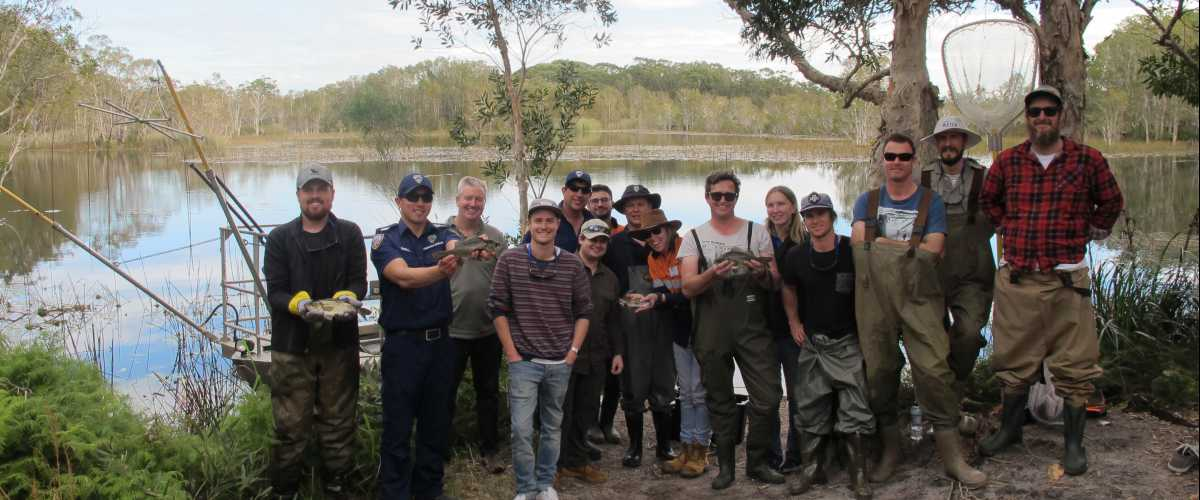 Scientists electrofishing training